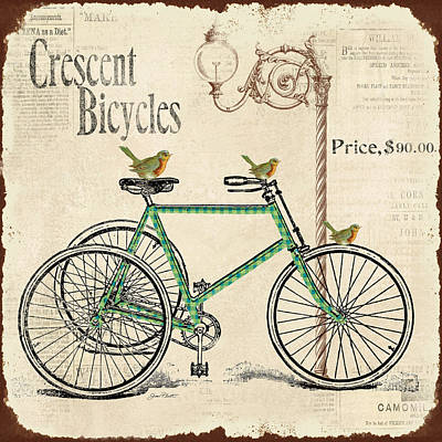 Cresent Bicycles Print by Jean Plout