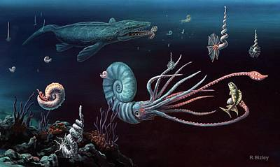 Aquatic Life Photograph - Cretaceous Marine Animals by Richard Bizley