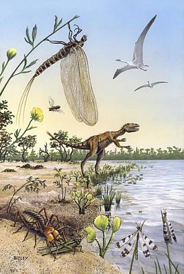 Flying Spider Photograph - Cretaceous Of Brazil, Prehistoric Scene by Science Photo Library