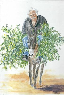Cretan Donkey And Owner Original by David Capon