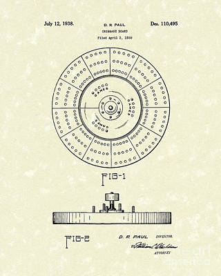Paul Drawing - Cribbage Board 1938 Patent Art by Prior Art Design