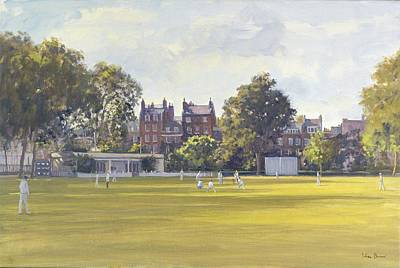 Cricket At Burton Court Oil On Canvas Print by Julian Barrow