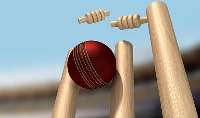 Cricket Digital Art - Cricket Ball Hitting Wickets by Allan Swart