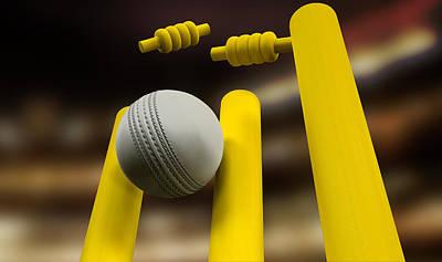 Cricket Digital Art - Cricket Ball Hitting Wickets Night by Allan Swart
