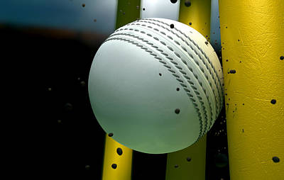 Cricket Digital Art - Cricket Ball Striking Wickets With Particles At Night by Allan Swart