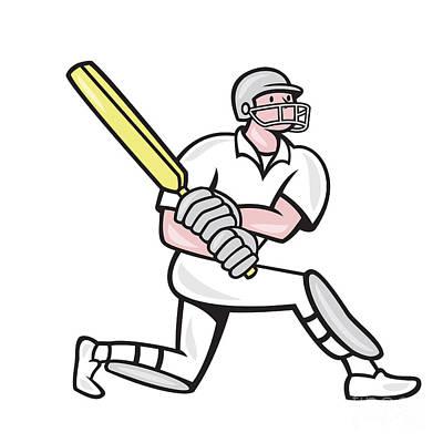 Cricket Player Batsman Batting Kneel Cartoon Print by Aloysius Patrimonio