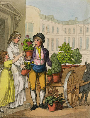 Street Drawing - Cries Of London The Garden Pot Seller by Thomas Rowlandson