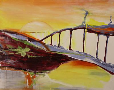 Crimson Bridge Over Blue Waters Original by Pamela Cooper