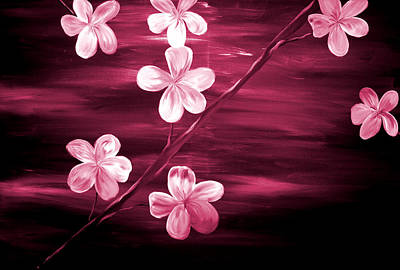 Silver Moonlight Painting - Crimson Cherry Blossom by Mark Moore
