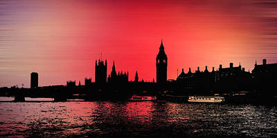 London Skyline Photograph - Crimson City by Sharon Lisa Clarke