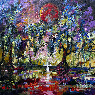 Crimson Moon Over The Garden Of Good And Evil Print by Ginette Callaway