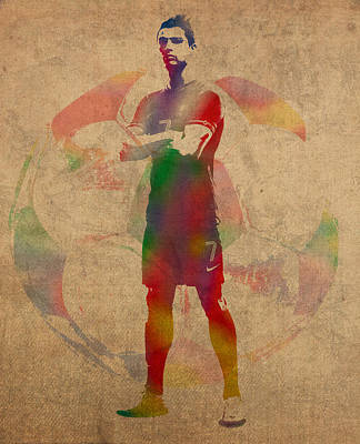 Soccer Mixed Media - Cristiano Ronaldo Soccer Football Player Portugal Real Madrid Watercolor Painting On Worn Canvas by Design Turnpike
