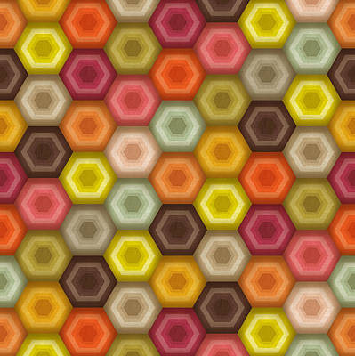 Crochet Honeycomb Retro Print by Sharon Turner