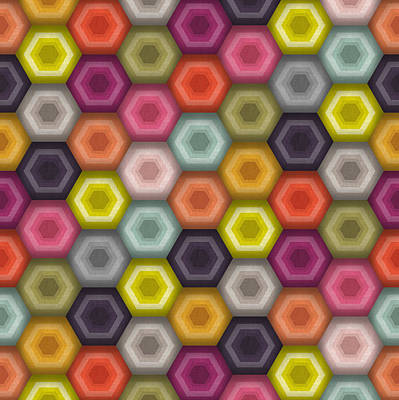 Hex Drawing - Crochet Honeycomb by Sharon Turner