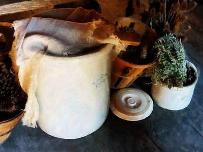 Bowl Photograph - Crock And Basket by Susan Savad