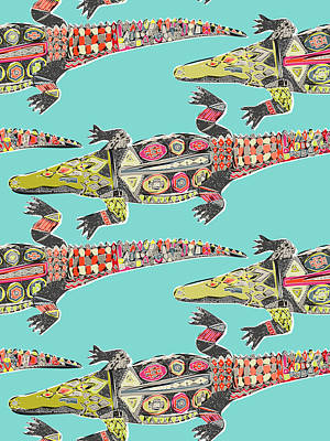 Crocodile Drawing - Crocodile Blue by Sharon Turner