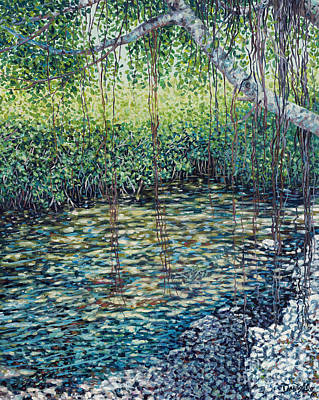 Tree Roots Painting - Crocodile Creek by Danielle  Perry