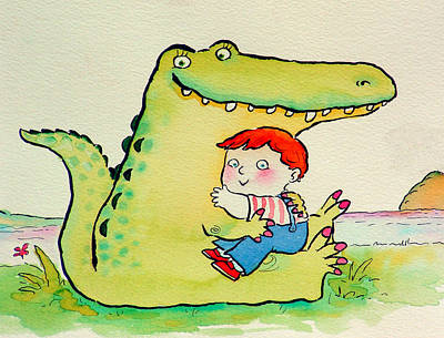 Book Illustrations Photograph - Crocodile Hug, Or Best Friends Pen & Ink And Wc On Paper by Maylee Christie