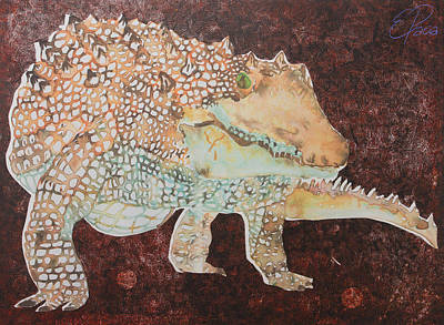 Crocodile Mixed Media - Crocodile In Red by Ewa Pacia