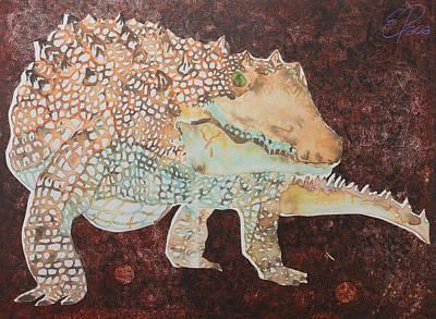 Crocodile Mixed Media - Crocodile In Red by Ewa Pacia