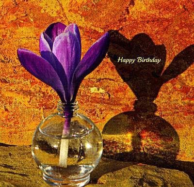 Crocus Floral Birthday Card Print by Chris Berry