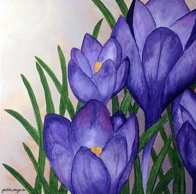 Spring Bulbs Painting - Crocuses by Julie Myers