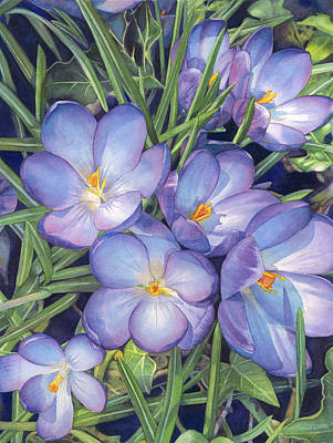 Early Spring Painting - Crocuses by Sandy Haight