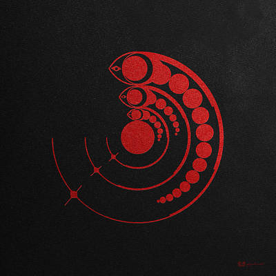 Unexplained Digital Art - Crop Circle Formation Near Avebury Stone Circle In Wiltshire England In Red by Serge Averbukh