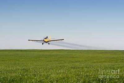 Daydreams Art Photograph - Crop Duster Airplane Flying Over Farmland by Cindy Singleton