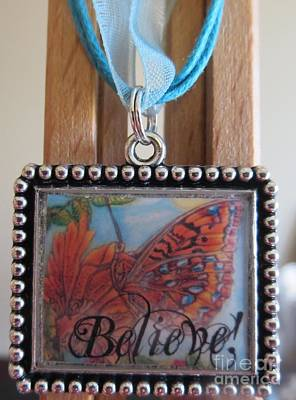 Believe...a Colorful Butterfly Lights Upon A Tiger Lily In A Necklace Print by Kimberlee Baxter