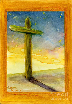 Jesus Christ Icon Painting - Cross At Dawn In Blue And Gold Sunrise by Lenora  De Lude