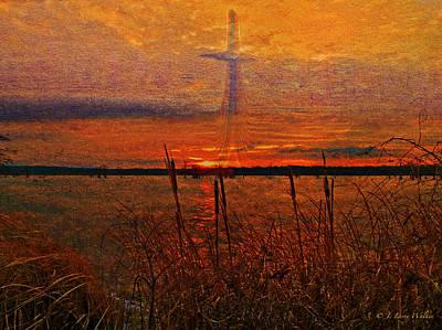 Cross Digital Art Digital Art - Cross At Sunrise by J Larry Walker