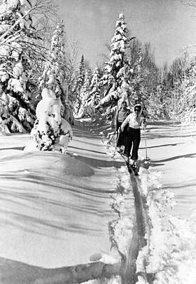 Activity Photograph - Cross Country Skiing In Canada by Underwood Archives