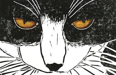 Lino Painting - Cross Kitty by Kerrie  Hubbard