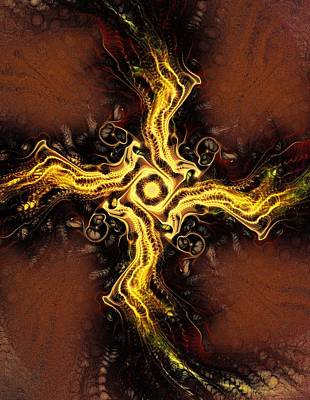Glow Digital Art - Cross Of Light by Anastasiya Malakhova