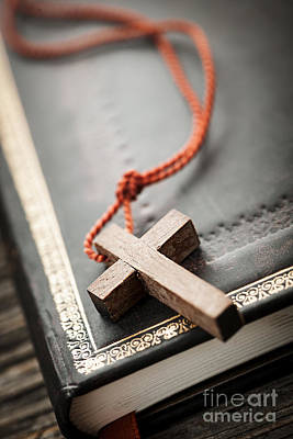 Wood Necklace Photograph - Cross On Bible by Elena Elisseeva