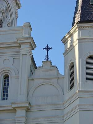 Cross On The Cathedral Print by Margaret Bobb