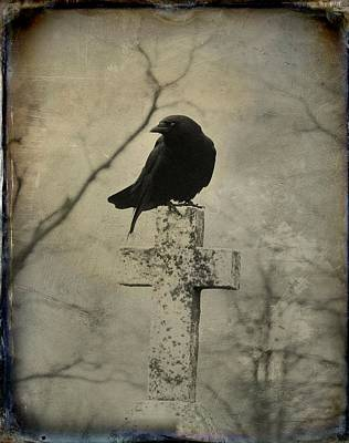 Cross With Crow Print by Gothicolors Donna Snyder