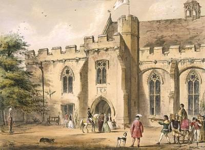 Entrance Drawing - Crossbow Practice, Penhurst Place by Joseph Nash