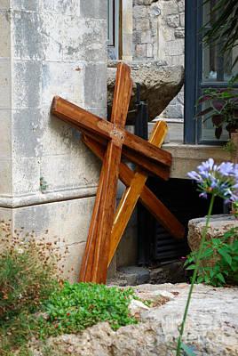 Crosses At Church Of The Flagellation Print by Eva Kaufman