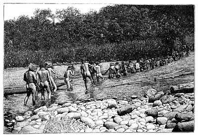 Colonial Man Photograph - Crossing A River In Vietnam by Science Photo Library