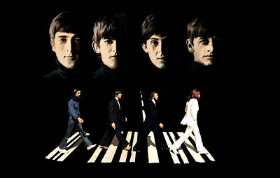 John Lennon David Pucciarelli Drawing - Crossing Into History The Beatles  by Iconic Images Art Gallery David Pucciarelli