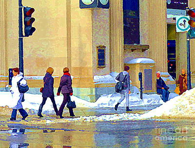 Montreal Winter Scenes Painting - Crossing St Catherine At Drummond Downtown Montreal Centre Ville Urban Winter Street Scene Cspandau  by Carole Spandau