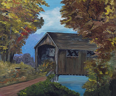 Covered Bridge Painting - Crossing The Covered Bridge by Donna Mann