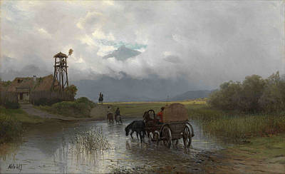 Lev Lagorio Painting - Crossing The River by Lev Feliksovich Lagorio