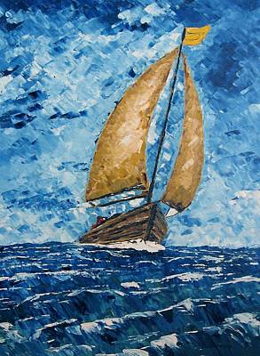 Sailboats Painting - Crossing The Strait by Mario Perez