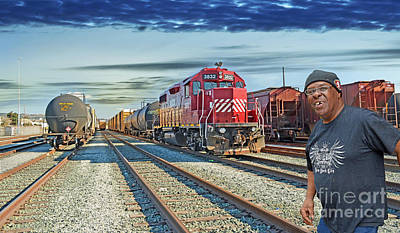 Crossing The Train Track  Print by Jim Fitzpatrick