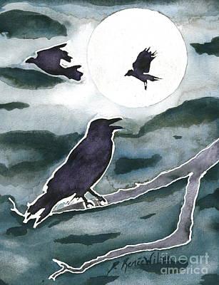 Raven Painting - Crow Moon by D Renee Wilson
