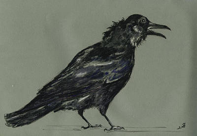 Watercolor Pencil Painting - Crow by Juan  Bosco