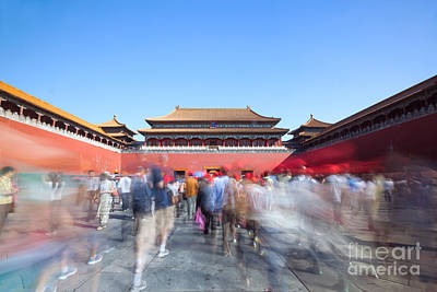 Summer Photograph - Crowd Of People Walking To The Entrance Of Forbidden Palace Beijing China by Matteo Colombo